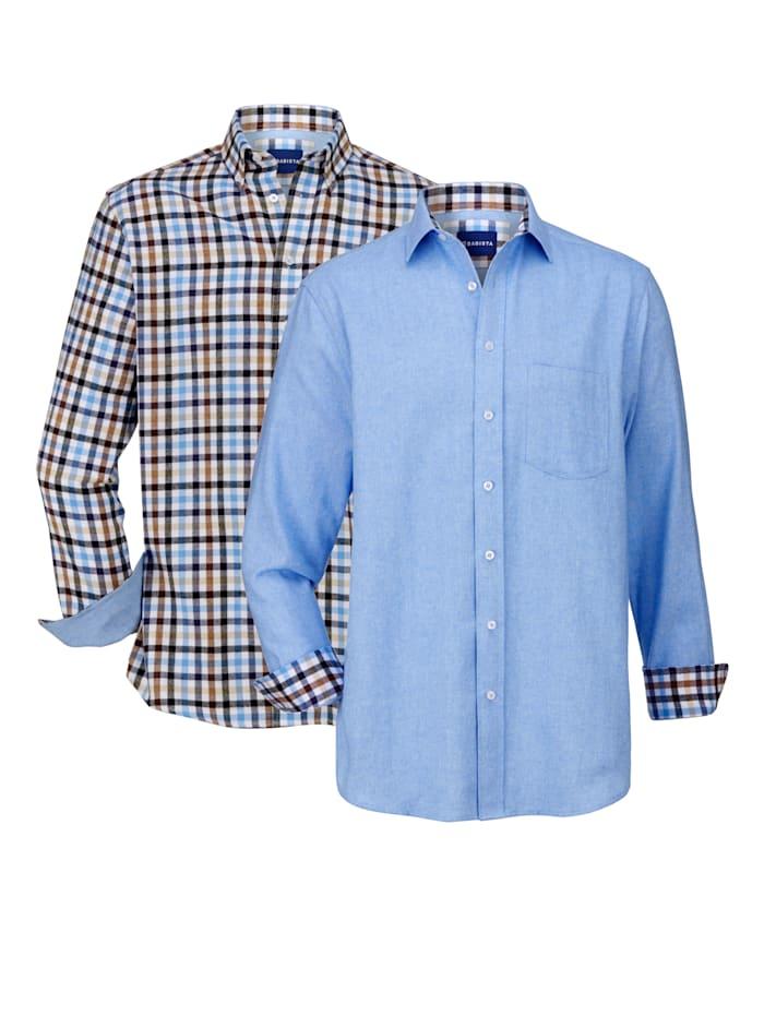 BABISTA Overhemden per 2 stuks 1x effen & 1x geruit, Blauw