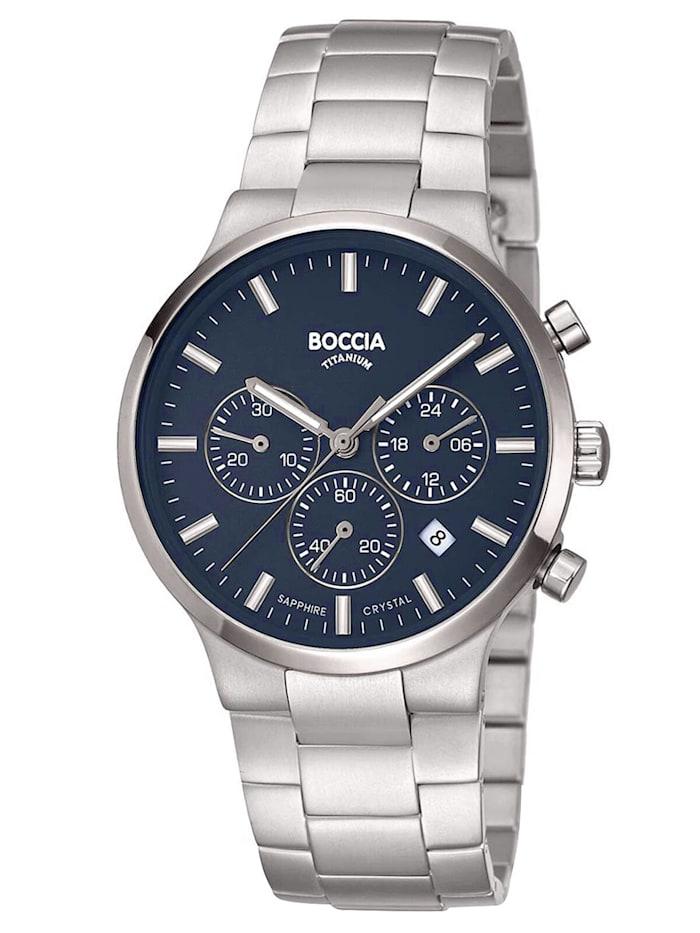 Boccia Herren-Armbanduhr Chronograph Titan Blau, Blau
