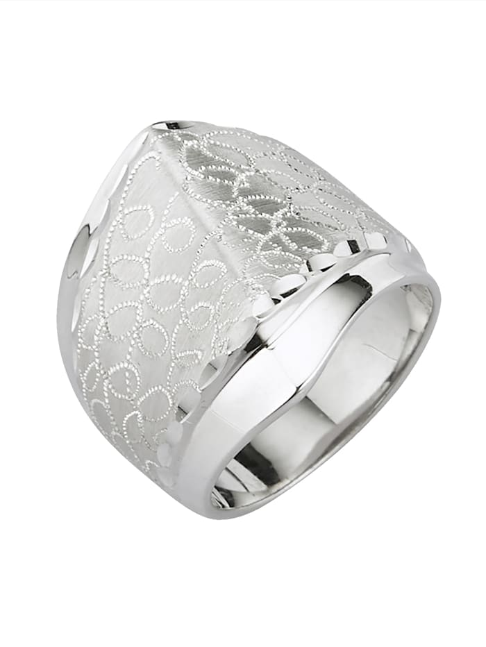 KLiNGEL Damenring strukturiert, Silberfarben
