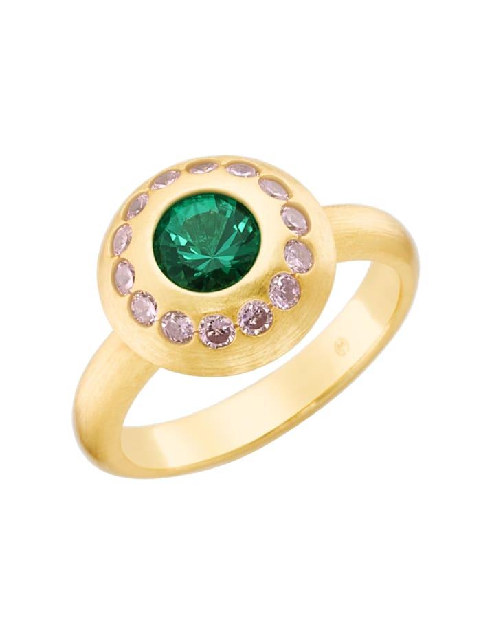 Giorgio Martello Ring mit Zirkonia rosa und grünem Kristallstein, Silber 925, Bunt