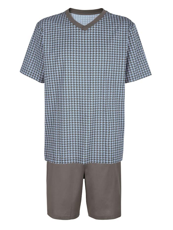 BABISTA Pyjashort en coton mercerisé, Bleu ciel/Gris
