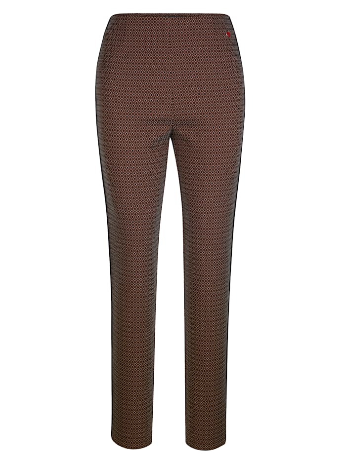 Pull-on trousers with contrast piping