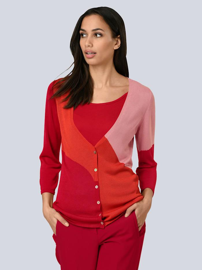 Alba Moda Vest met modieuze colourblocking, Rood/Oranje/Oudroze