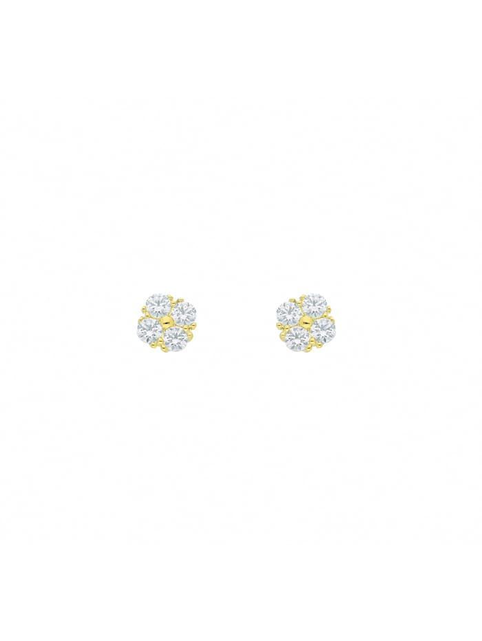 1001 Diamonds 1001 Diamonds Damen Goldschmuck 333 Gold Ohrringe / Ohrstecker mit Zirkonia, gold