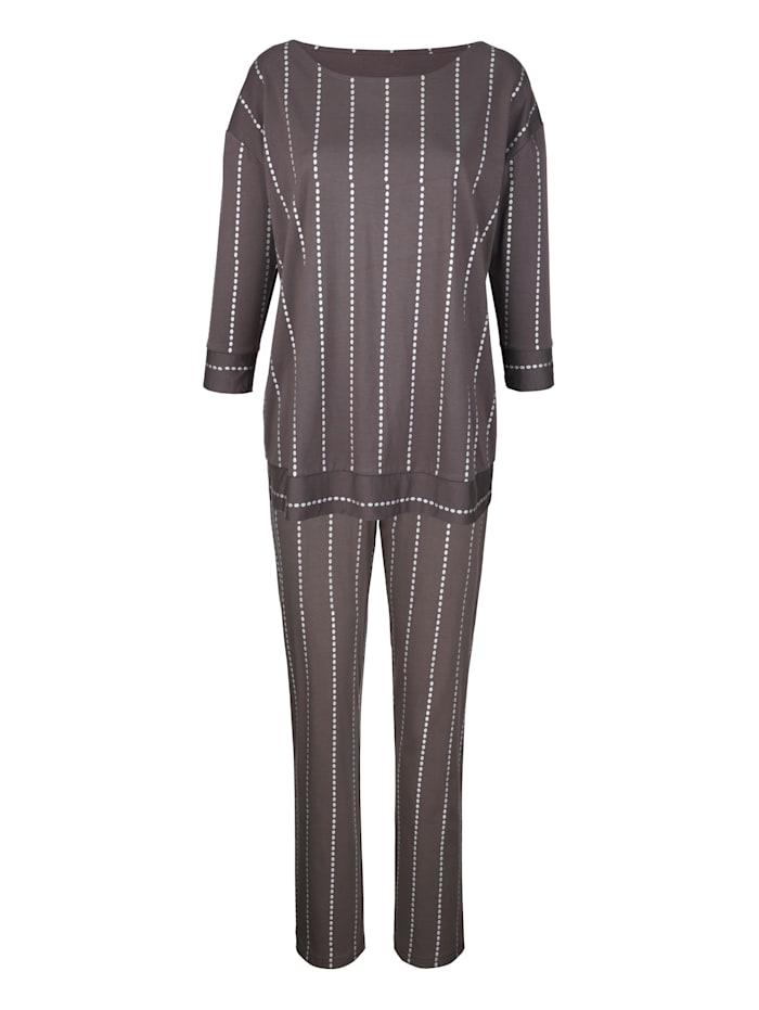 Simone Schlafanzug mit silberfarbenem Punktedruck, Anthrazit/Silberfarben