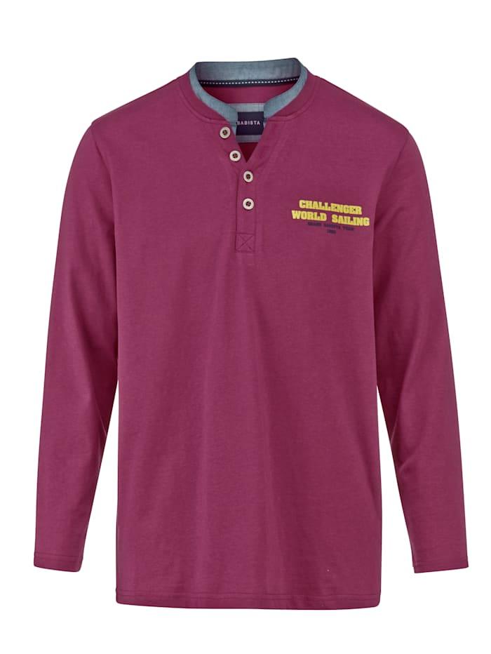 BABISTA Shirt met contrastkleurige opstaande kraag, Berry