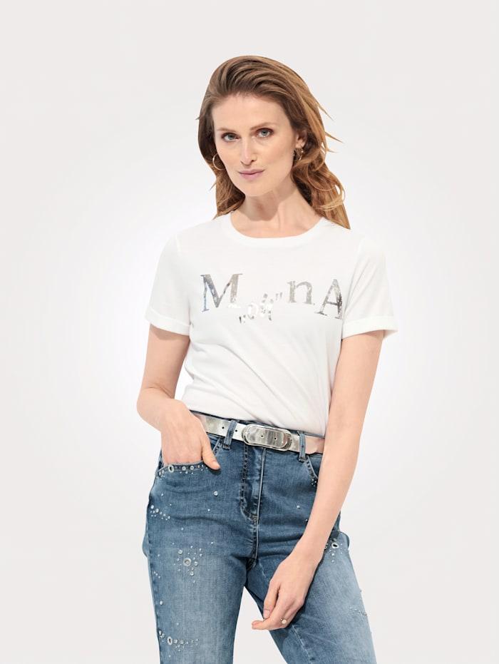 MONA Shirt mit exklusivem Schriftzug, Weiß