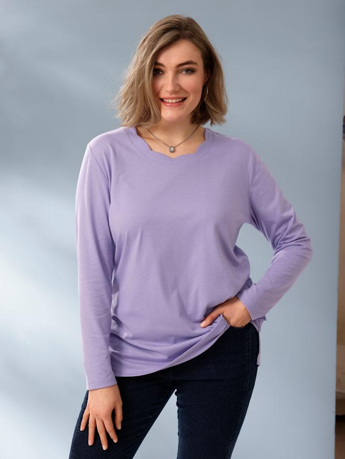 m. collection Shirt met sierlijk golvende ronde hals, Lila
