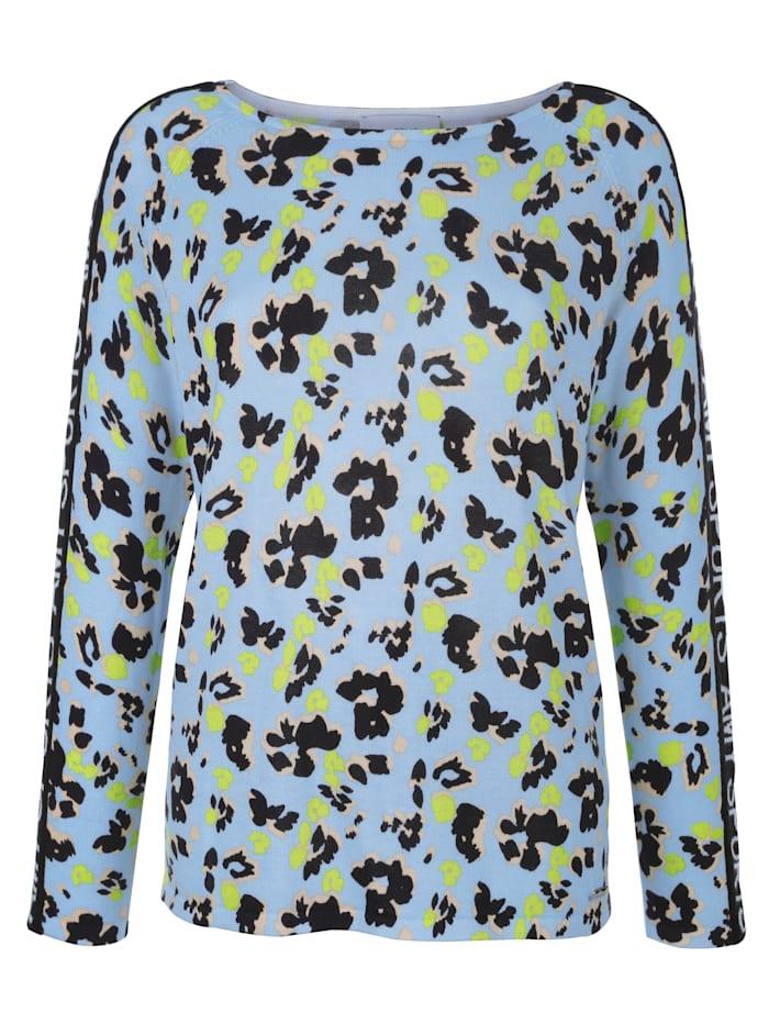 AMY VERMONT Pullover im Leo-Dessin allover, Hellblau/Marineblau/Neongrün