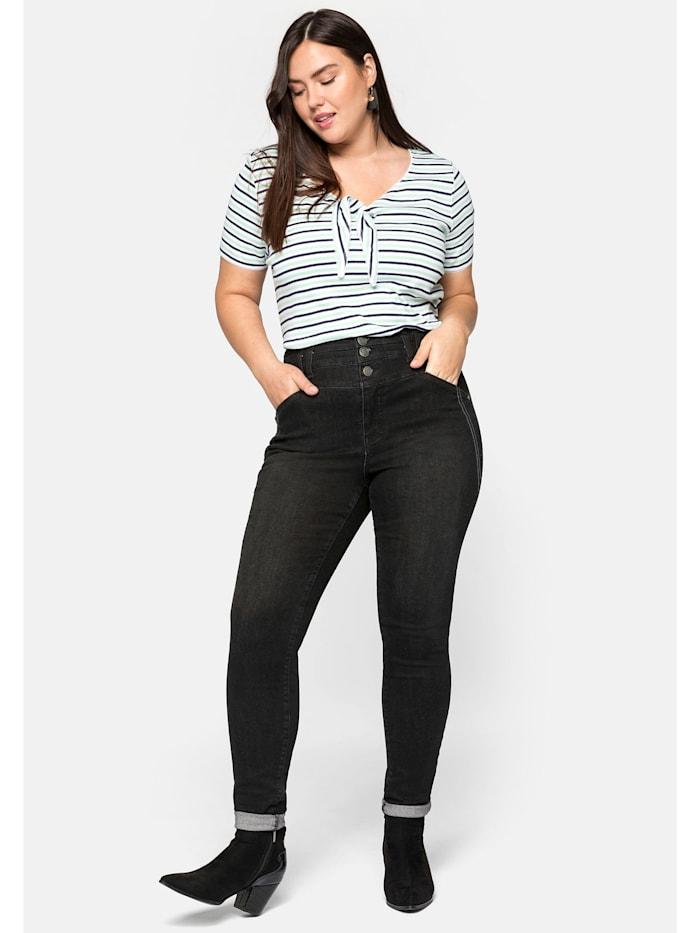 Sheego Jeans Skinny Jeans mit High Waist Bund in ultraflexibler Qualität, black Denim