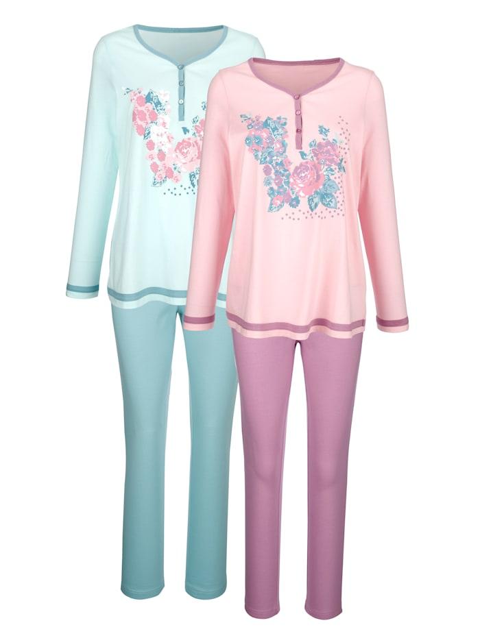 Harmony Pyjama's per 2 stuks in contrastkleurige uitvoering, Oudroze/Jadegroen