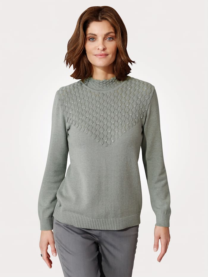 MONA Pullover mit Strukturstrick, Grau