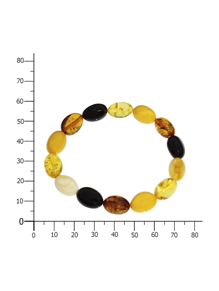 Armband - Olive 12 x 8 mm - Bernstein - ,