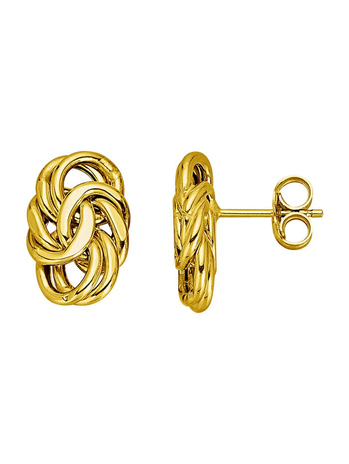 Diemer Gold Oorstekers in koningskettinglook, Geelgoudkleur