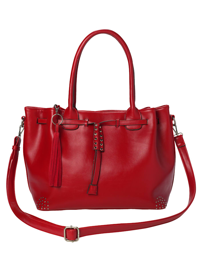 Turned Love Handbag in a standout design, Red