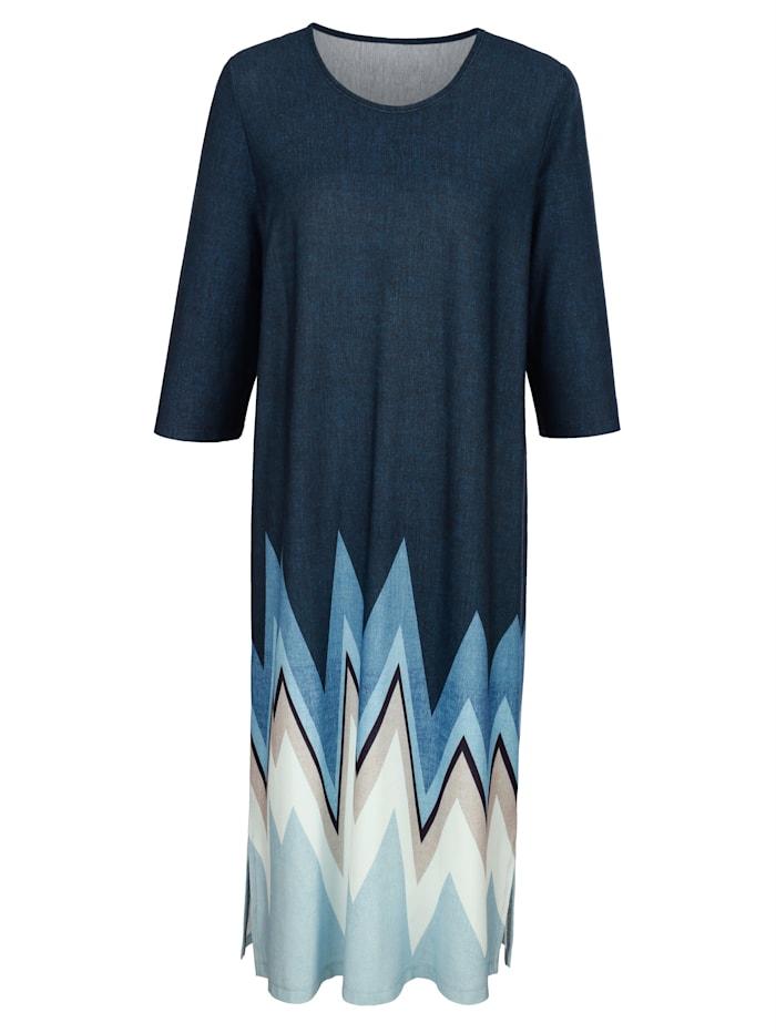 Harmony Hauskleid mit modischem Grafikdruck, Marineblau/Blau/Ecru
