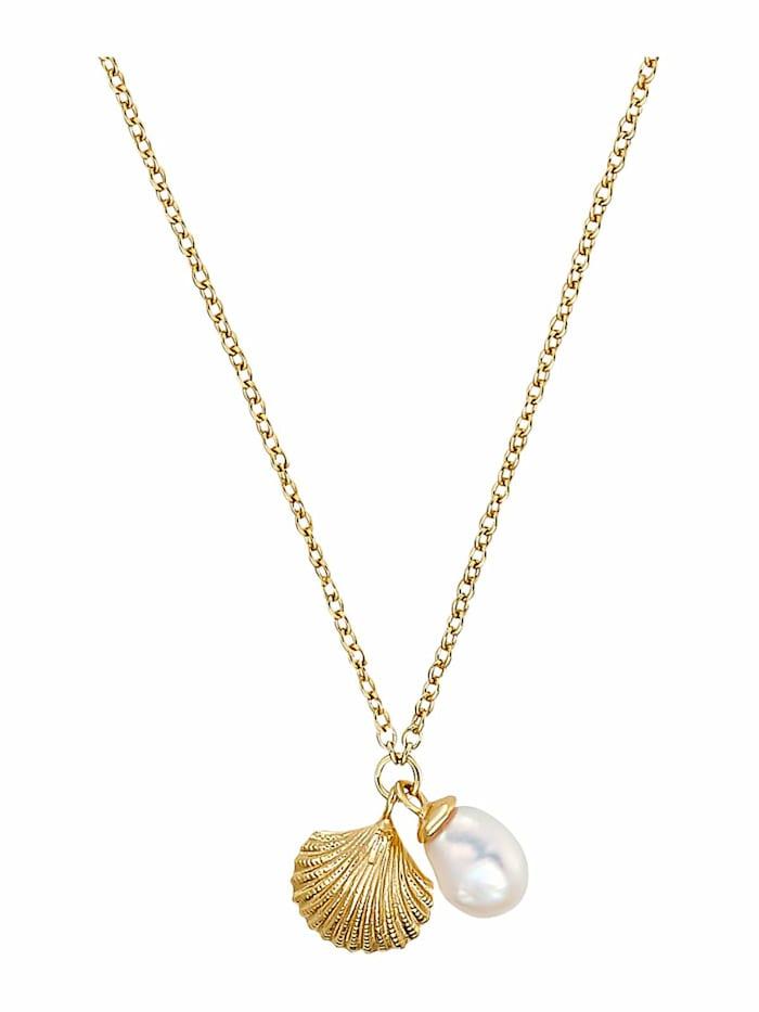 Kette mit Anhänger für Damen, Sterling Silber 925 vergoldet, Muscheln mit Perle