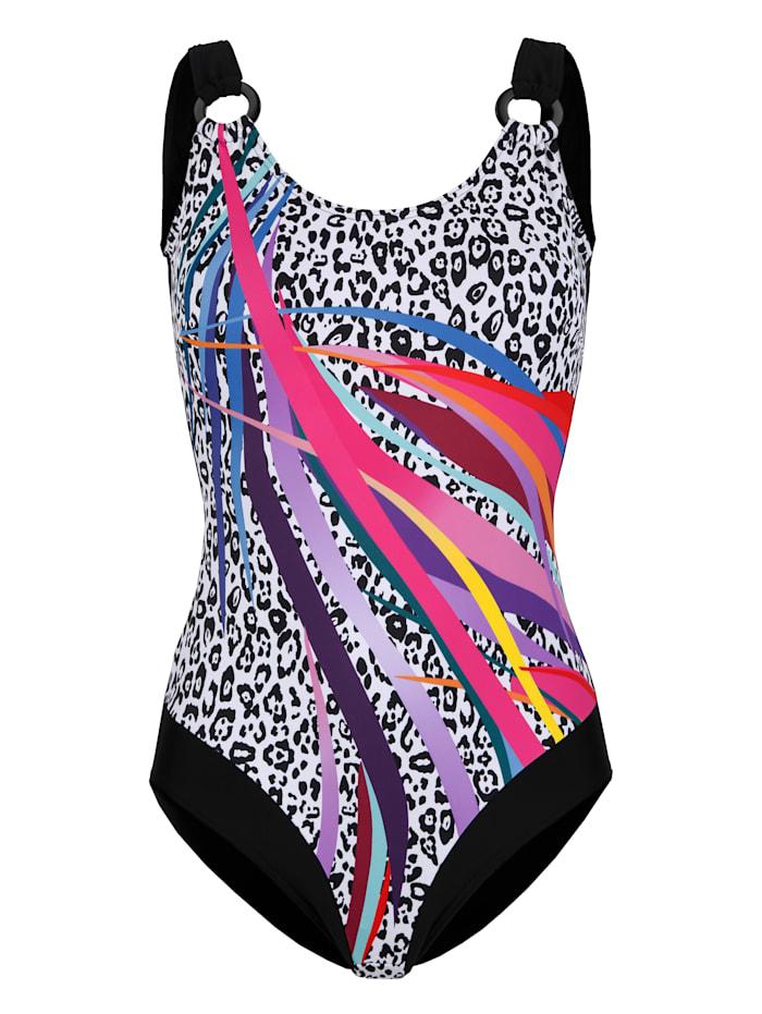 Maritim Plavky s módním mixem vzorů, Černá/Bílá