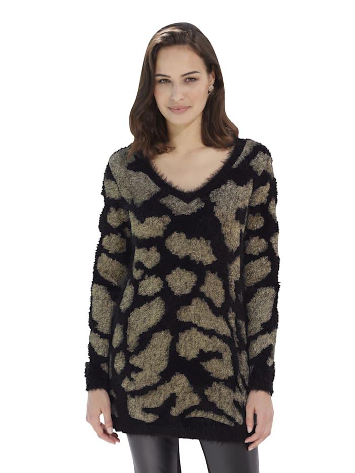 AMY VERMONT Pullover in flauschiger Qualität, Schwarz/Goldfarben