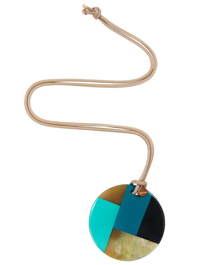 KATHY Halskette Mit Hornanhänger, Durchmesser 7 cm, Blau/Schwarz