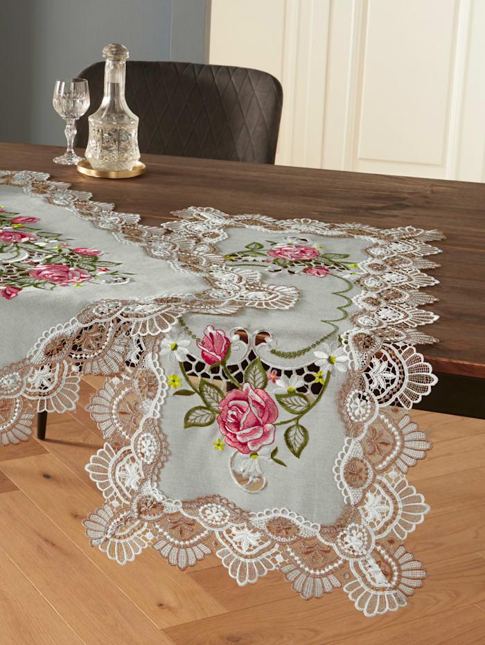 Webschatz Tischwäsche 'Laura', grau/rose/bunt