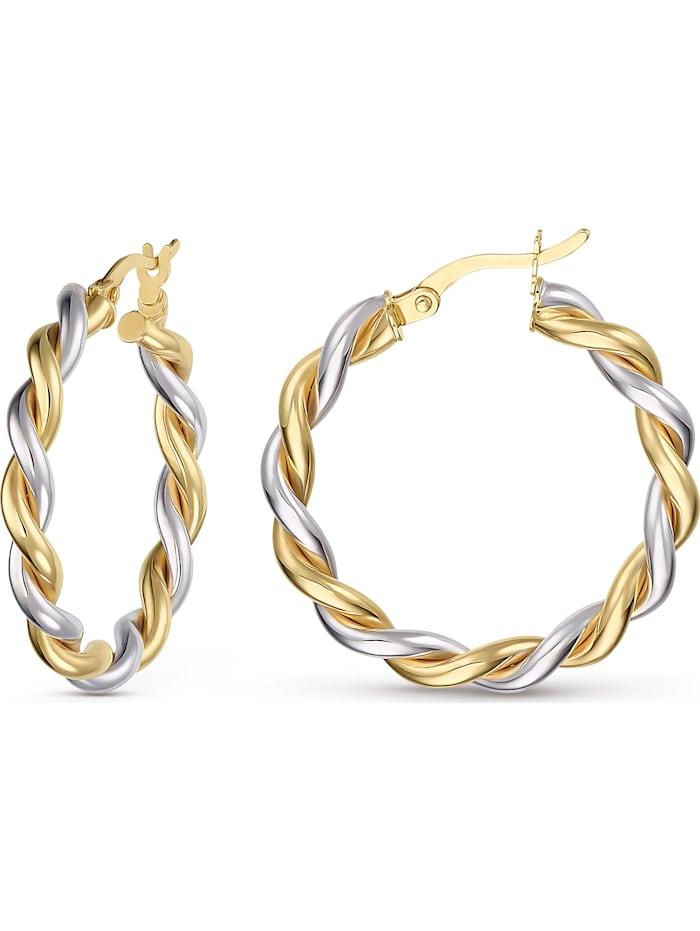 CHRIST Gold Damen-Creolen 375er Gelbgold, 375er Weißgold