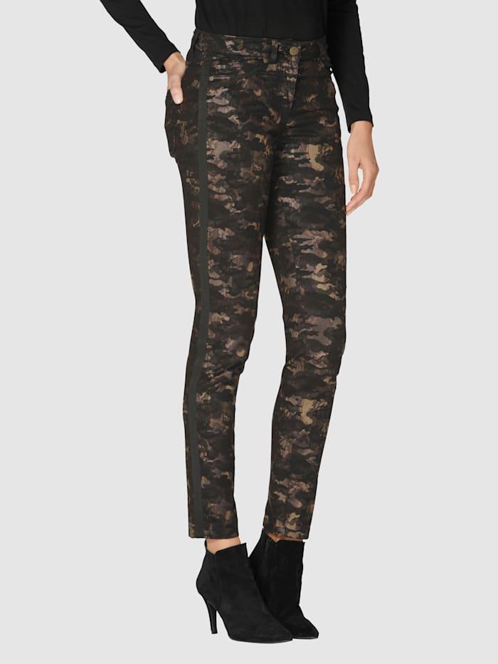AMY VERMONT Hose mit Camouflage-Muster, Schwarz/Braun