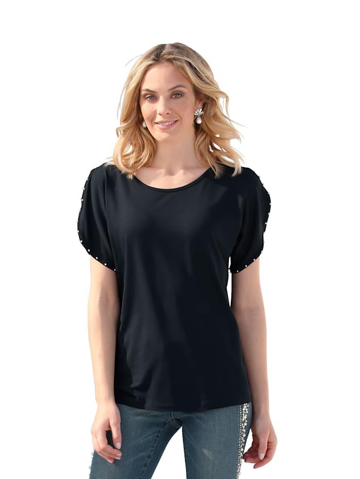 AMY VERMONT Shirt mit Perlendekoration, Marineblau