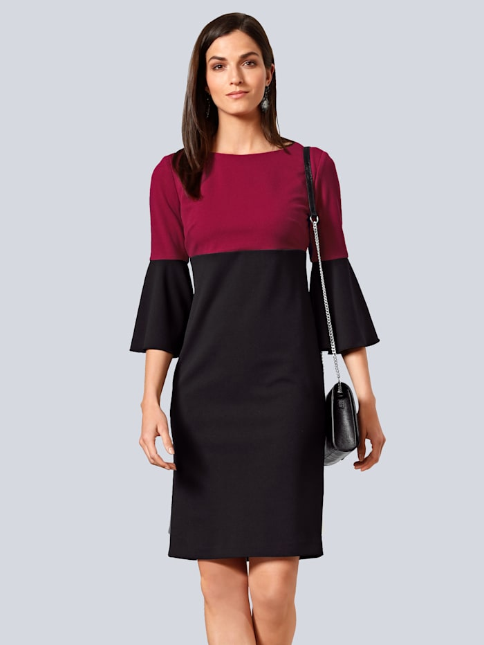 Alba Moda Kleid in zweifarbiger Optik, Schwarz/Beere