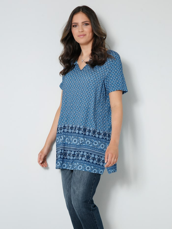 Janet & Joyce Shirt-Tunika in A-Shape, Jeansblau/Marineblau