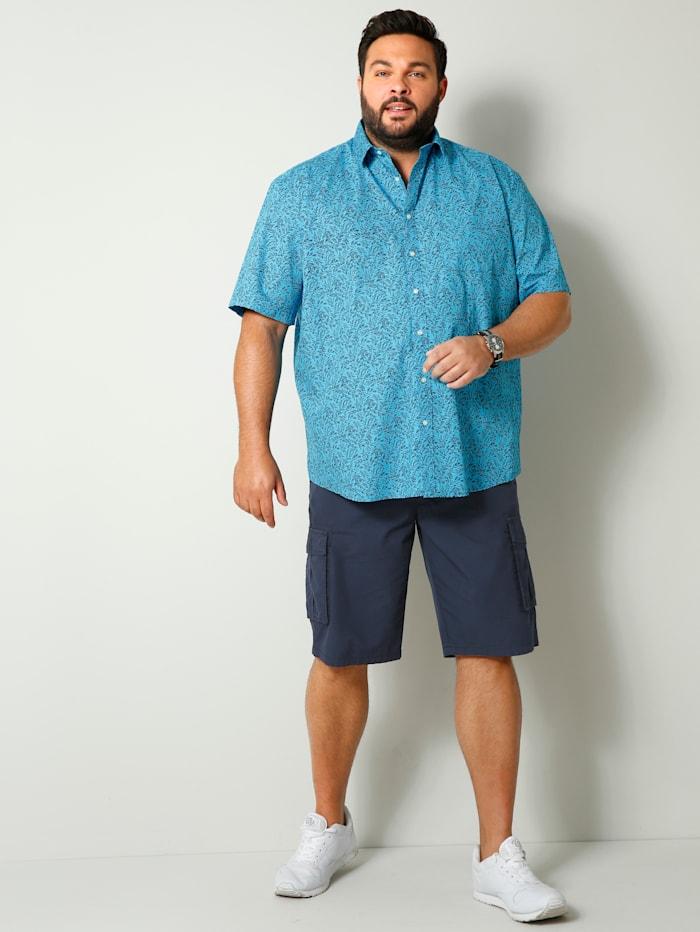 Men Plus Overhemd in speciaal model, Turquoise/Marine