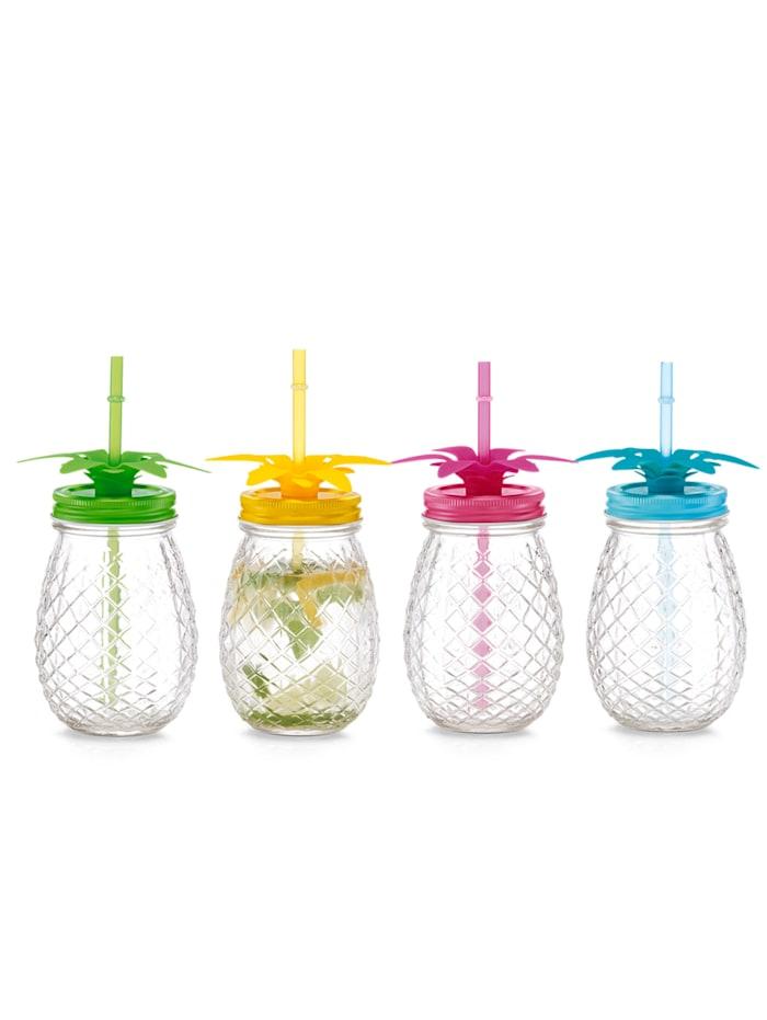 Zeller 4 dricksglas med sugrör i läcker ananasdesign, flerfärgad