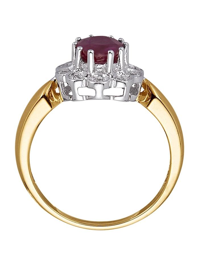 Damenring mit Rubin und Diamant