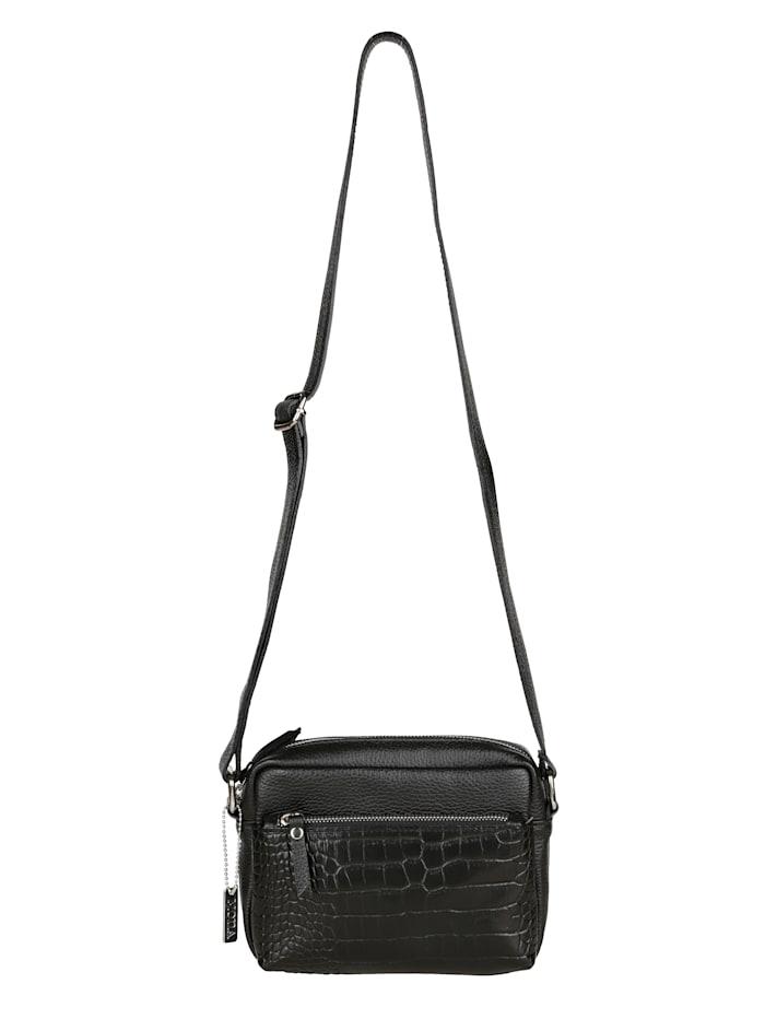 MONA Schoudertas met een afneembare MONA-hanger, zwart/kroko