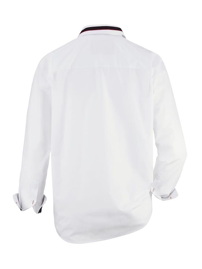 Overhemd met contrastkleurig beleg van weefstof