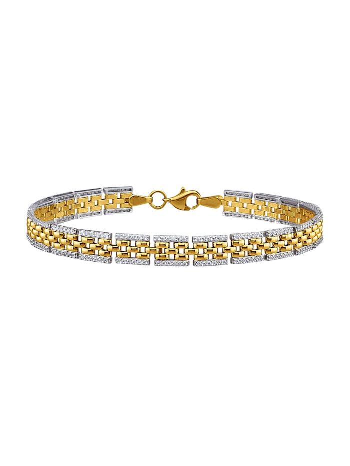 Armband in geel en wit, Geelgoudkleur