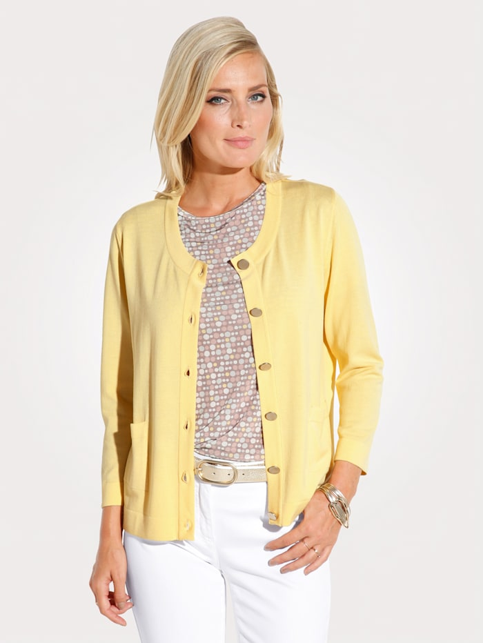 MONA Cardigan made from a soft fabric blend, Yellow