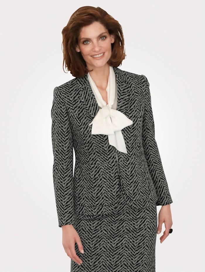 MONA Blazer en jersey en jacquard, Noir/Écru