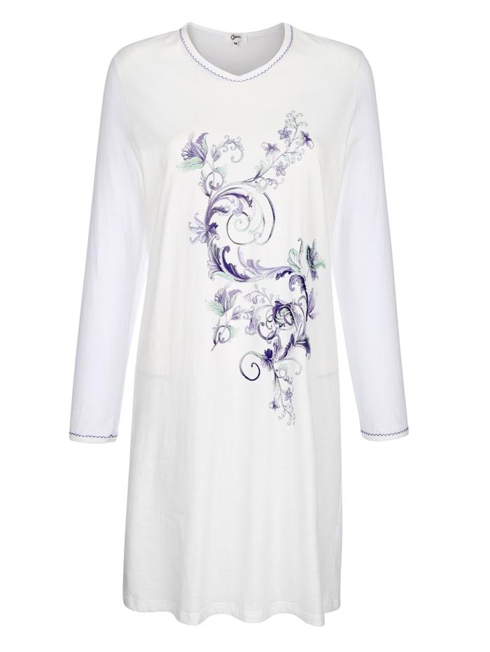 MONA Nachthemd mit hübscher Zackenlitze am Ausschnitt und den Ärmelabschlüssen, Ecru/Flieder/Hellgrau