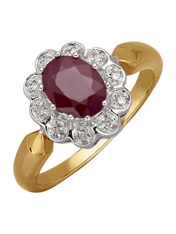Damenring mit Rubin und Diamant, Rot