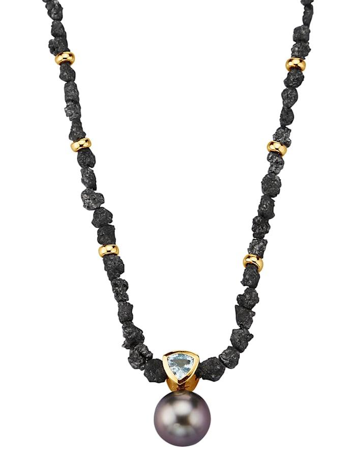 Diemer Perle Rohdiamantkette Tahiti-Zuchtperle und Edeltopas, Grau
