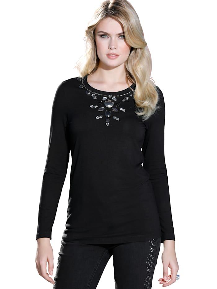 AMY VERMONT Shirt mit Perlen- und Strasssteindekoration, Schwarz