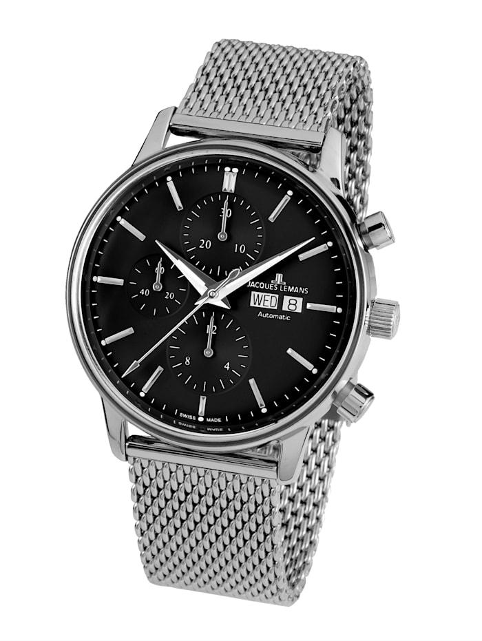 Jacques Lemans Herren-Uhr-Automatik-Chronograph Lemans- Serie: Retro Classic Valjoux: N- 208C, Silberfarben
