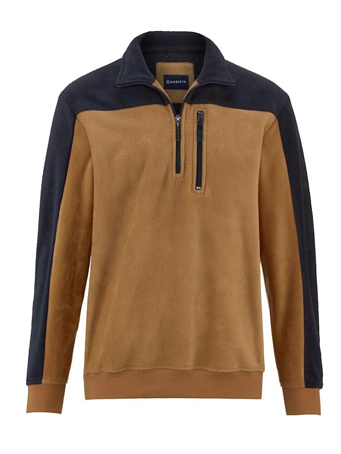 BABISTA Fleece trui met borstzakje, Camel