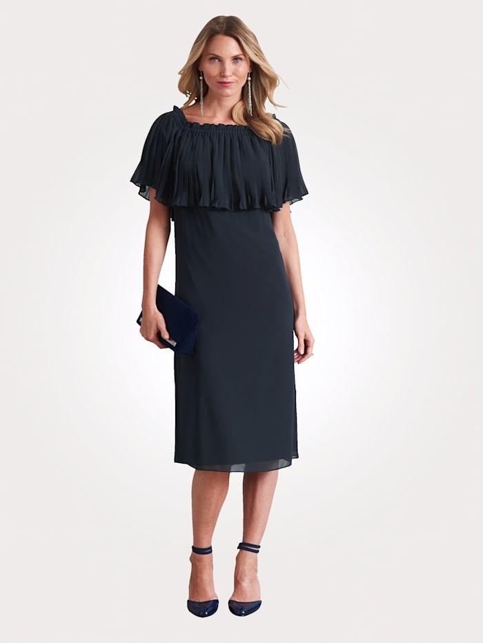 MONA Kleid mit Plissee-Überwurf, Marineblau