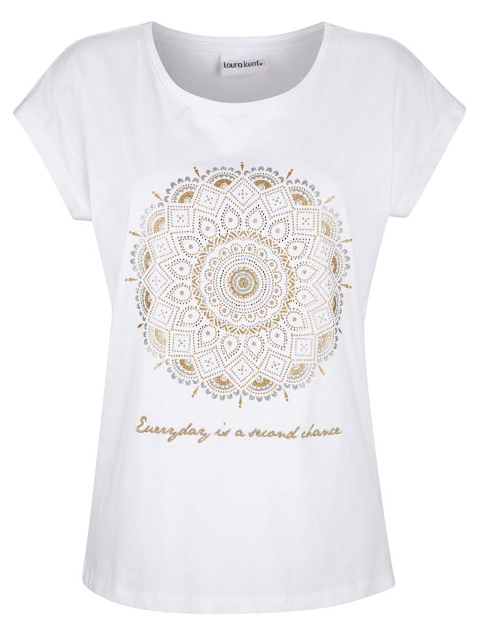 Shirt met print en borduursel voor