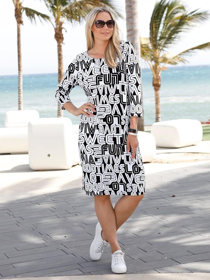 MIAMODA Jerseykleid mit graphischem Schrifte-Druck, Schwarz/Weiß