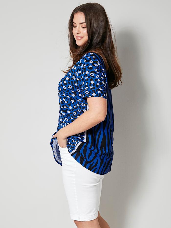 Angel of Style Shirt met animaldessin, Royal blue/Zwart/Wit