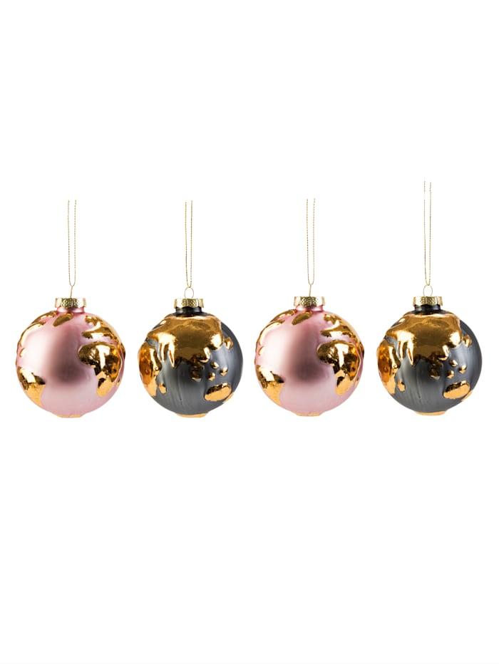 IMPRESSIONEN living Kugel-Set, 4-tlg., rosé/schwarz/goldfarben