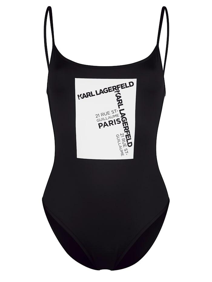 Karl Lagerfeld Badeanzug mit Adress-Druck, Schwarz